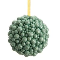 "5.5"" Regal Peacock Seafoam Green Textured Glitter Ball Decorative Christmas Ornament"