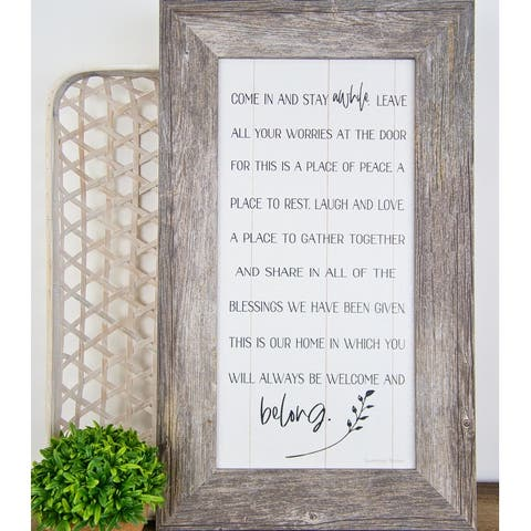 Come In And Stay Awhile Leave Your Troubles At The Door Framed Art Decor