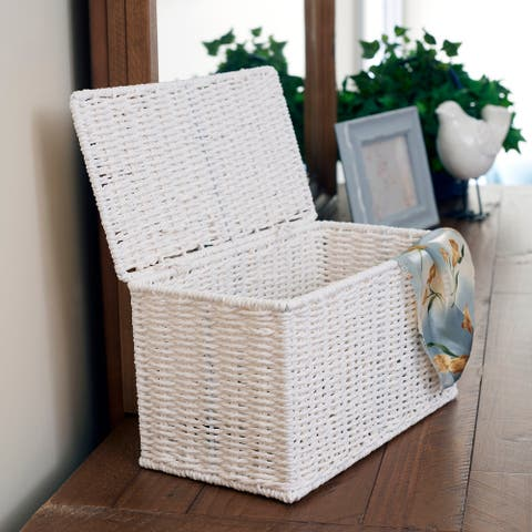 Household Essentials Decorative Wicker Chest with Lid for Storage and Organization White