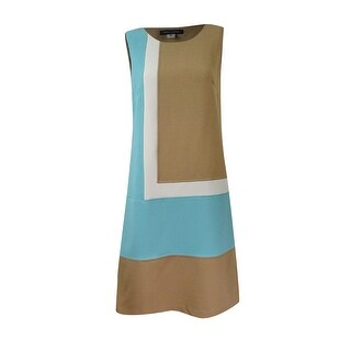 Tommy Hilfiger Women's Colorblocked Shift Dress - tan multi