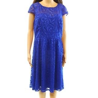 Marina NEW Blue Illusion Shimmer Lace Women's Size 16 Sheath Dress