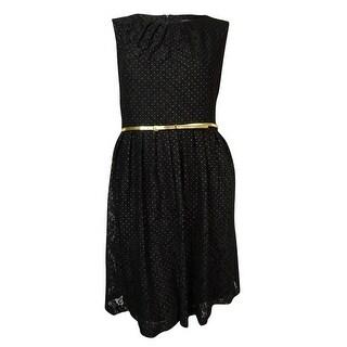 Ellen Tracy Women's Belted Textured Dot Lace Dress - Black