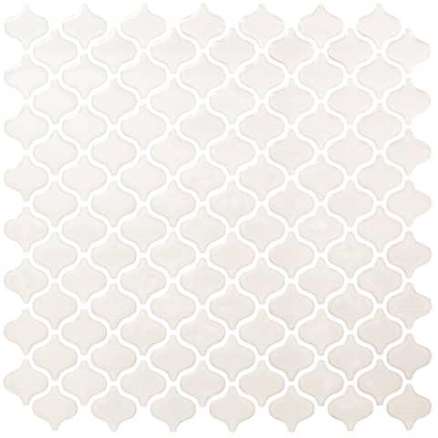 BeausTile Decorative Bianco 4-piece Decorative Adhesive Faux Tile Sheets