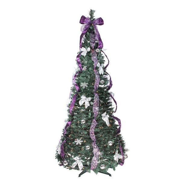 Pop Up Christmas Trees With Lights: Shop 6' Pre-Lit Slim Purple And Silver Decorated Pop-Up