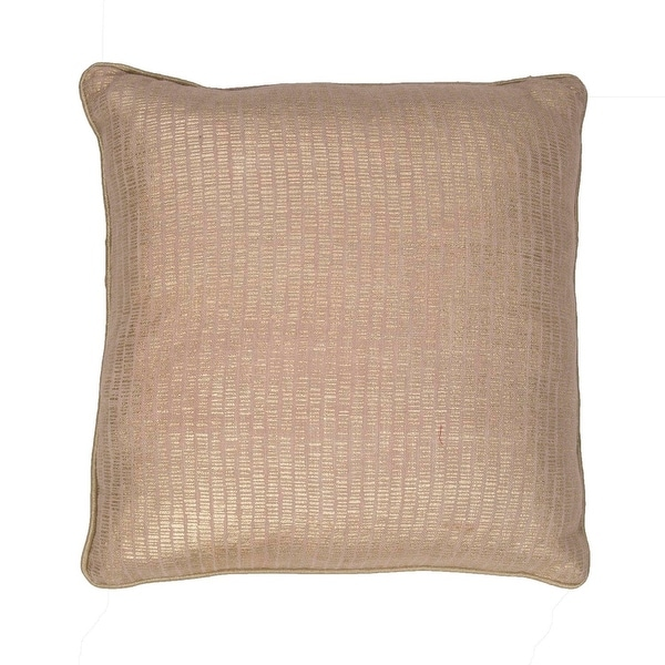 "18"" Champagne Beige and Gold Solid Square Decorative Throw Pillow"