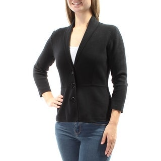 Womens Black 3/4 Sleeve V Neck Casual Sweater Size M
