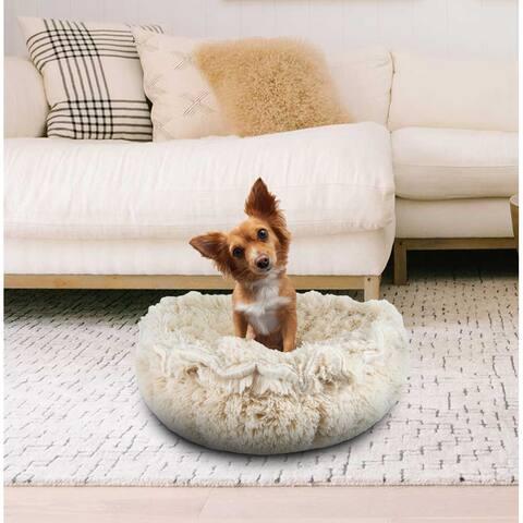 "Bessie and Barnie Ultra Plush Blondie Luxury Shag Deluxe Dog / Pet Cuddle Pod Bed - 30"""