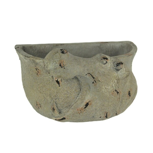 Grey Stone Finish Carved Hippo Head Hanging Planter - 5.5 X 9 X 5.5 inches