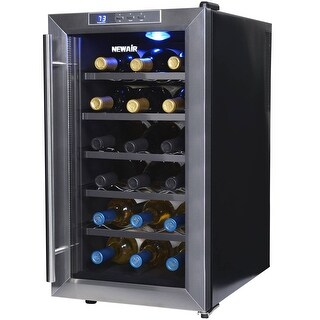 NewAir AW-181E Streamlined 18 Bottle Thermoelectric Wine Cooler, Stainless - stainless steel & black