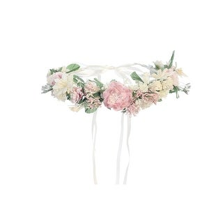 Girls Pink White Flower Adorned Ribbon Back Special Occasion Hair Wreath Crown