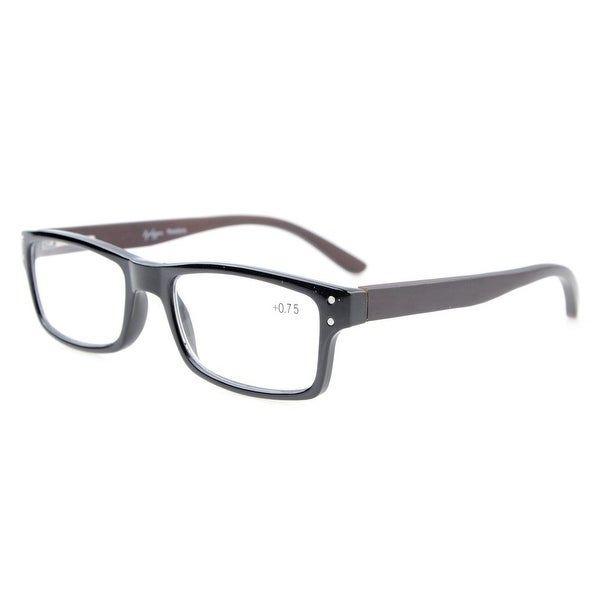 Eyekepper Quality Spring Hinges Wood Arms Mens Womens Reading Glasses Black +0.75