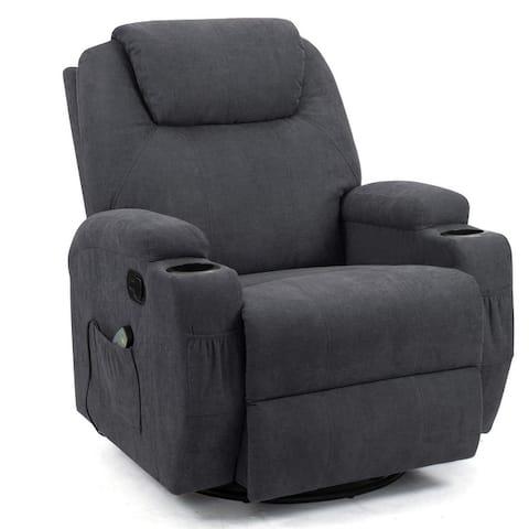 Homall Massage Recliner Chair Swivel Heating Fabric Living Room Sofa