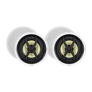 Monoprice In-Ceiling 2 Way Speakers - 8 Inch (pair) With Aramid Fiber And Titanium Silk Drivers - Caliber Slim Series