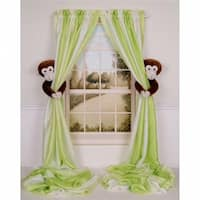 Curtain Critters  Plush Safari Chocolate Monkey Curtain Tieback Set- 2
