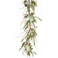 Pack of 2 Decorative Wintry Brown and Green Pine Garland with Tag