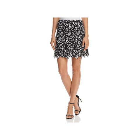 French Connection Womens Mini Skirt Lace Floral Print