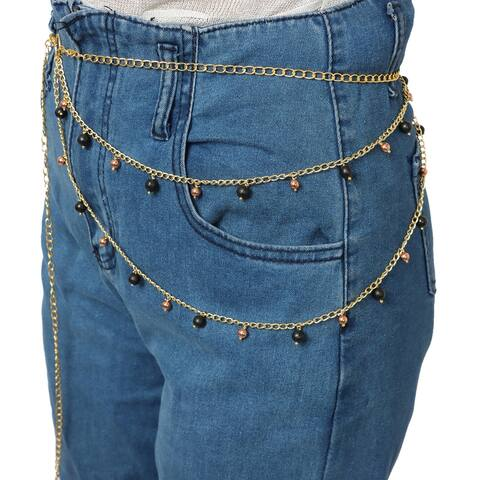 Shop LC Shungite Goldtone Beaded Draped Body Jewelry Belt 46