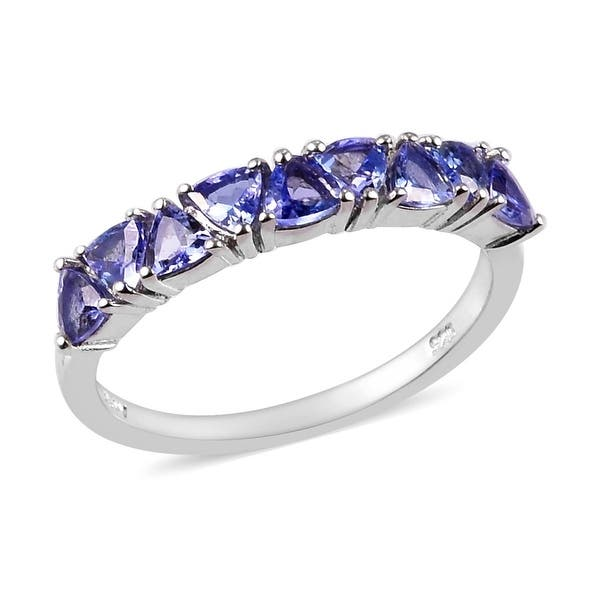 Details about  /Stackable 925 Sterling Silver Blue Tanzanite Stacking Solitaire Band Ring Size