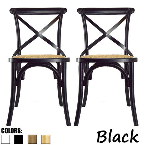 Set of 2 Wood Antique Farmhouse Cross Back Dining Chairs Rattan With X Back Dark Bedroom Restaurants Hotel