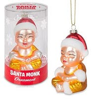 Santa Monk Glass Holiday Ornament