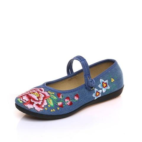 Women's Chinese Ethnic Embroidery Flat Ballet Marry Janes Cheongsam Dancing Shoes Liyuanchun