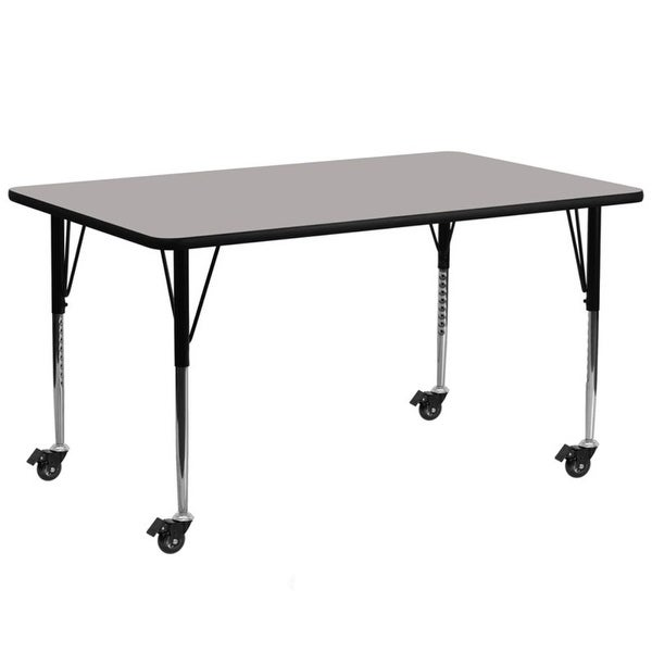 """Offex 30""""W x 72""""L Mobile Rectangular Activity Table with 1.25"""" Thick High Pressure Laminate Top & Standard Height Adjustable Leg"""