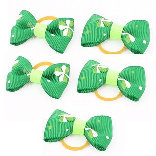 Pet Dog Clover Pattern Hair Grooming Rubber Bands Clips Hairpins 5 Pcs Green