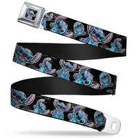 Stitch Face Sketch Close Up Full Color Black Stitch Poses Hibiscus Sketch Seatbelt Belt