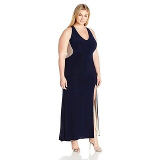 Xscape Plus Size Illusion Beaded Back Evening Gown Dress