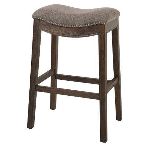 Bar Height Saddle Style Counter Stool with Fabric and Nail head Trim