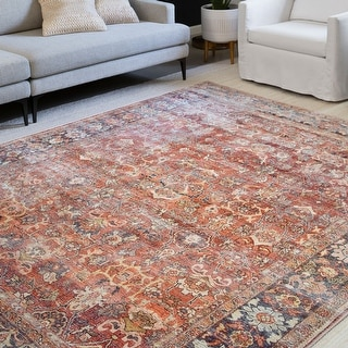 Alexander Home Isabelle Traditional Vintage Border Printed Area Rug