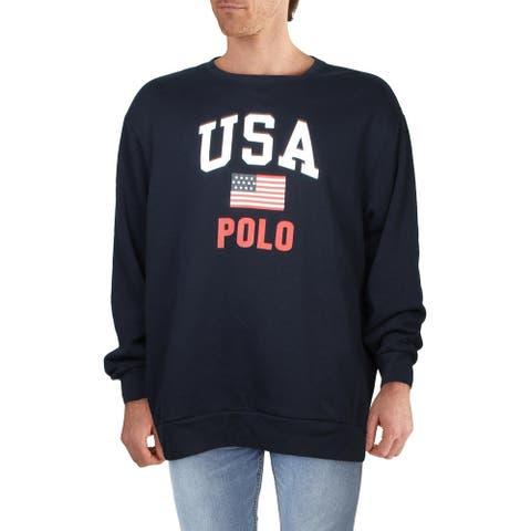 Polo Ralph Lauren Mens Big & Tall Sweatshirt Fleece Cozy - Aviator Navy - 3XLT