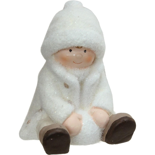 "4.75"" Creamy White Sitting Boy with Snowball Christmas Table Top Figure"