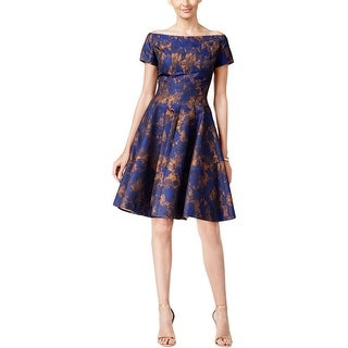 B Michael Womens Party Dress Off-The-Shoulder Fit & Flare - 12