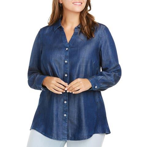 Foxcroft NYC Womens Plus Lizzy Tunic Top Tencel Button- Down