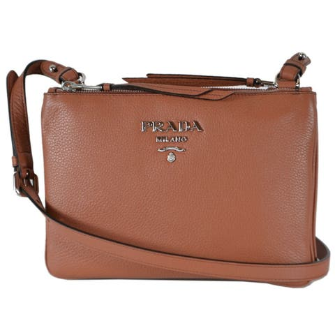 81abe26dab74f5 Prada 1BH046 Rame Tan Vitello Leather Bandoliera Double Zip Crossbody Bag -  Brown
