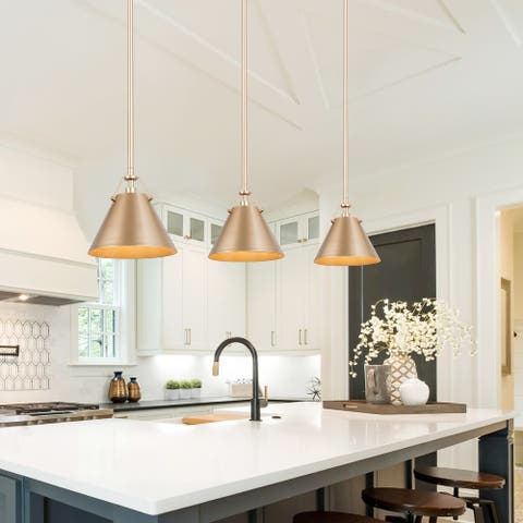 "Modern Antique Gold 1-light Pendant Light for Kitchen Island Living/ Dining Room - Antique Gold - D8"" x H7"""