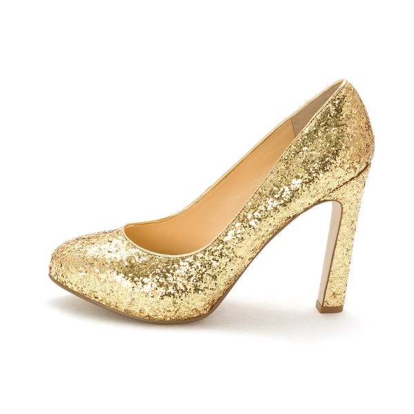 GUESS Womens Shaney2 Closed Toe Classic Pumps, Gold Glitter, Size 8.5