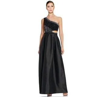 Aidan Mattox One Shoulder Beaded Cutout Taffeta Evening Gown Dress (3 options available)