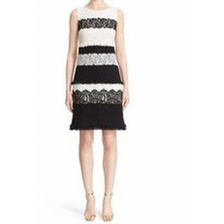 St. John NEW Womens Size 8 Fringe Sheath Colorblock Sequin Knit Dress