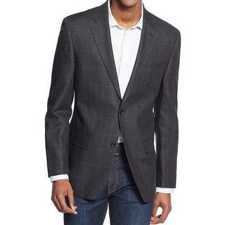 Michael Kors Mens Two-Button Suit Jacket Silk Checkered - 40L