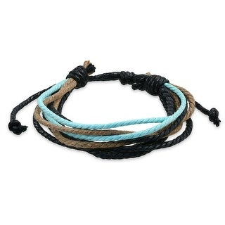 Bling Jewelry Blue Multi Color Cord Brown Leather Wrap Bracelet 9in