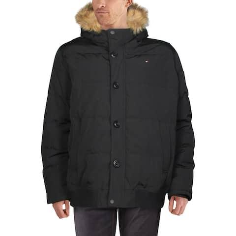 Tommy Hilfiger Mens Big & Tall Parka Coat Winter Faux Fur Trim - Black - 3XL