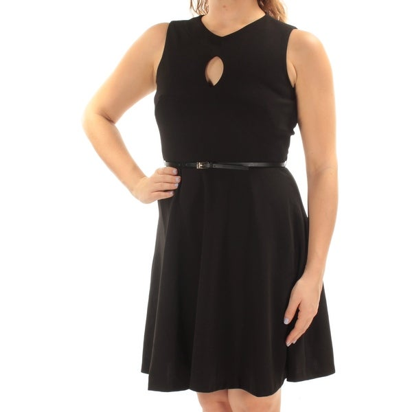 6dd3e087b349 Shop CALVIN KLEIN Womens Black Belted Sleeveless Keyhole Above The Knee Fit  + Flare Dress Petites Size: 10 - Free Shipping On Orders Over $45 -  Overstock - ...