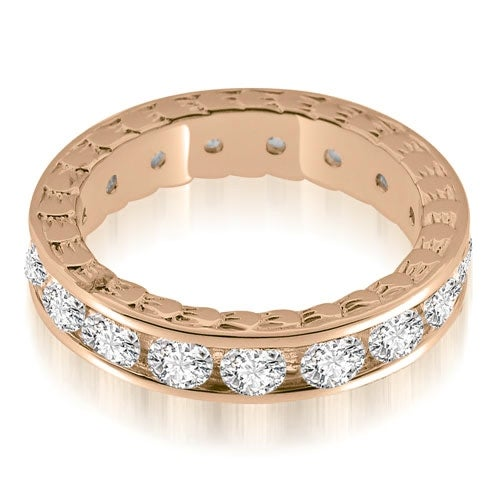 2.55 cttw. 14K Rose Gold Antique Style Channel Set Round Diamond Eternity Ring