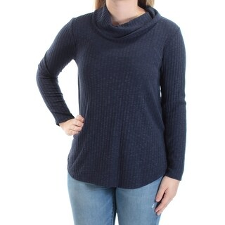 Womens Navy Long Sleeve Cowl Neck Top Size S