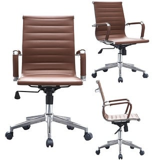 2xhome Brown Executive Ergonomic Mid Back Eames Office Chair Ribbed PU Leather Adjustable for Manager Conference Computer Desk