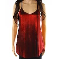 Angie Red Black Womens Size Medium M Shimmer Stretch Cami Top