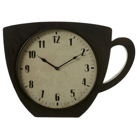 """27.37"""" Black and Cream White Coffee Cup-Shaped Decorative Wall Clock"""