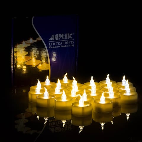 AGPtek Lot of 100 Battery Operated Amber Yellow Tea Light LED Candles - S